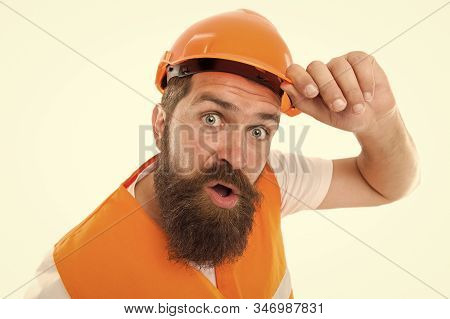 Leave The Work To The Professional. Bearded Man Workman Isolated On White. Construction Worker In Pr