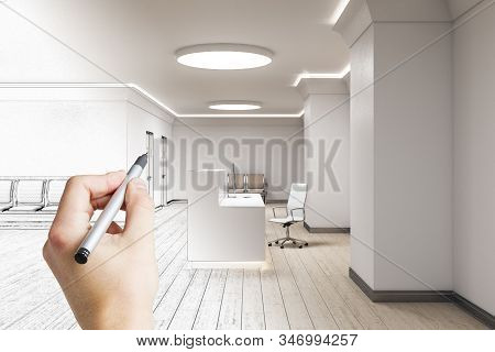 Hand Drawing Reception Desk With Computer In Medical Office Interior. Medical And Healthcare Concept
