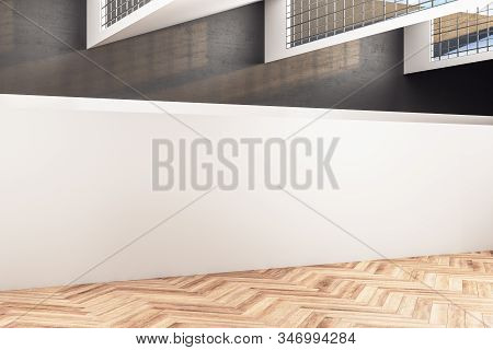 Gallery Hall With Wooden Floor And Blank White Wall. Gallery, Advertisement, Presentation Concept.