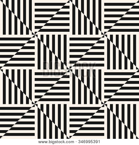 Vector Geometric Seamless Pattern. Optical Art Ornament. Simple Modern Abstract Monochrome Geo Textu