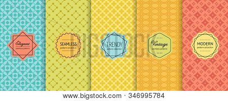 Vector Geometric Seamless Patterns. Collection Of Colorful Background Swatches With Elegant Minimal