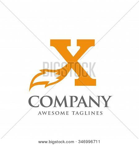 Initial Letter X With Fox Tail Logo Design Template Vector