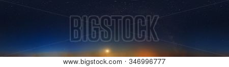 Dark Blue Sky After Sunset With Beautiful Awesome Sky With Moon And Milky Way. Seamless Hdri Panoram