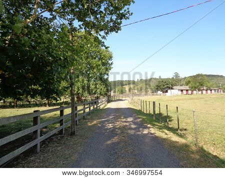 Road Inside The Farm  Dirt Road Dirt Road And Fence
