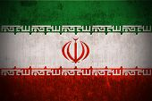 Dirty Weathered Flag Of Iran fabric textured poster