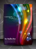 Flyer, brochure or cover design with shiny colorful waves for publishing, print and presentation. EPS 10. poster