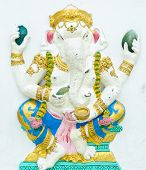 God of success 3 of 32 posture. Indian style or Hindu God Ganesha avatar image in stucco low relief technique with vivid colorWat Samarn ChachoengsaoThailand. poster