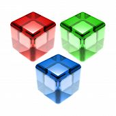 Red Green Blue Glass Cubes Isolated on the white poster