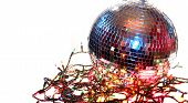 colorful disco ball on white background with christmas lights around it poster