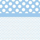Background illustration of small and large polka dots in baby boy colors poster