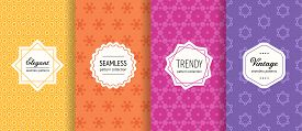 Vector Geometric Seamless Pattern Collection. Set Of Bright Colorful Background Swatches With Modern