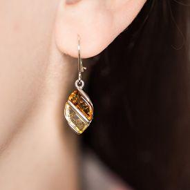Baltic Amber Earrings - Natural Jewellery On Ear