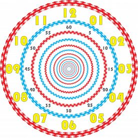 Clock Dial Yellow Numbers For Minutes And Gray Seconds And Cyan Magenta Cadran On Transparent Backgr