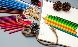 Multicolored Sharpened Pencils, Coniferous Cones, And Notepad On Gray Background