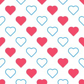 Love Hearts Seamless Pattern Vector Illustration.