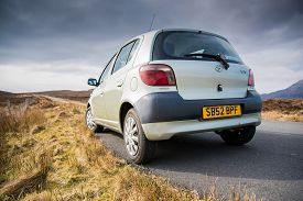 Dunvegan, Isle Of Skye, Scotland - September 2017: Toyota Yaris Mk1