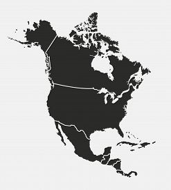 North America Map With Regions. Usa, Canada, Mexico Map. Outline North America Map Isolated On White