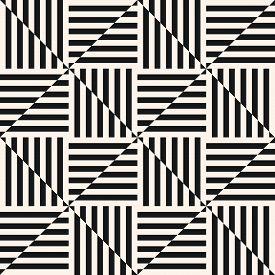 Vector Geometric Seamless Pattern. Optical Art Ornament. Simple Modern Abstract Monochrome Geo Textu