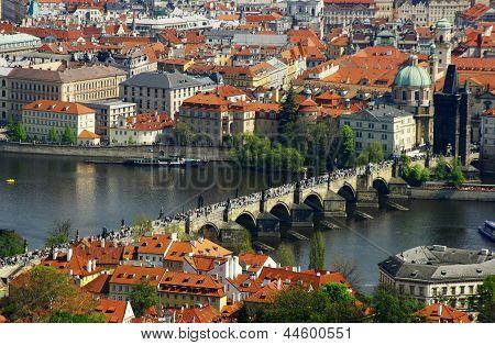 Prague City Panorama With Charles Bridge