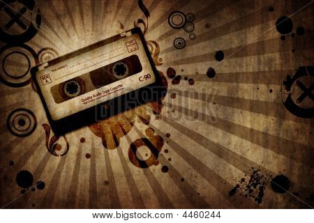 Grunge Texture Background With Music Cassete