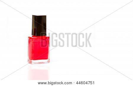 Red Nail Varnish With Reflection And Copy Space