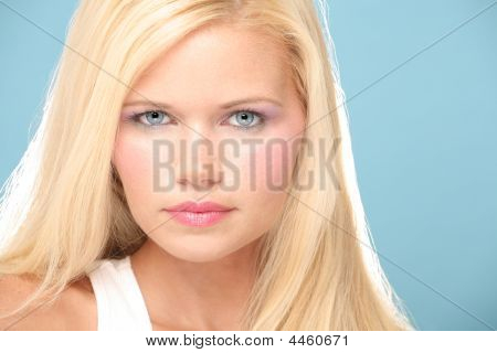 Portrait Of Stunning Blondie With Blue Eyes