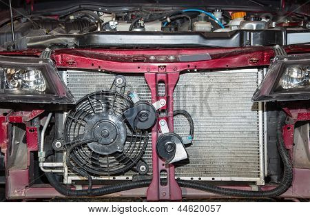 Passenger Car With The Cover Off The Radiator