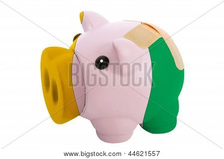 Closed Piggy Rich Bank With Bandage In Colors National Flag Of Cote Ivore