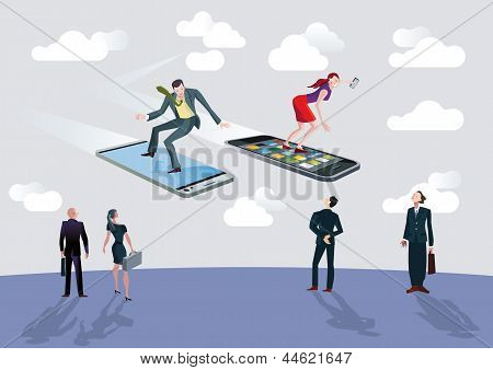 Businessman And Businesswoman And Flying Smartphones
