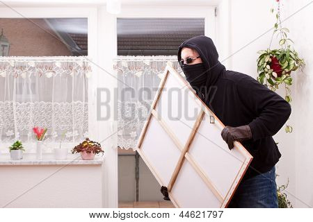 Thief Steals A Painting