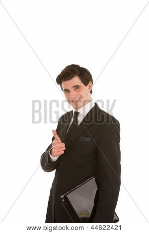 Confident Businessman Giving A Thumbs Up