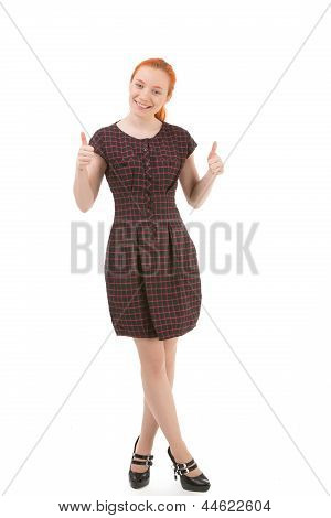 Excited Woman Giving A Double Thumbs Up