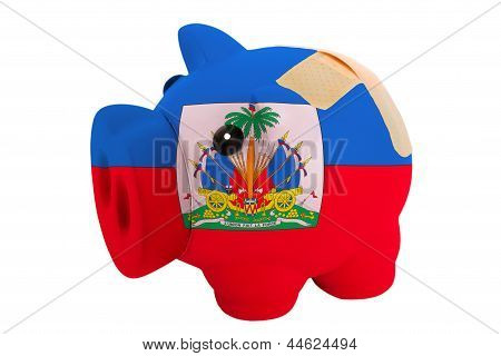 Closed Piggy Rich Bank With Bandage In Colors National Flag Of Haiti