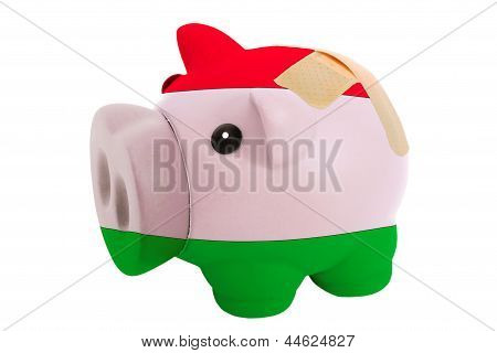 Closed Piggy Rich Bank With Bandage In Colors National Flag Of Hungary