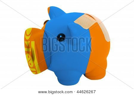 Closed Piggy Rich Bank With Bandage In Colors National Flag Of Mongolia