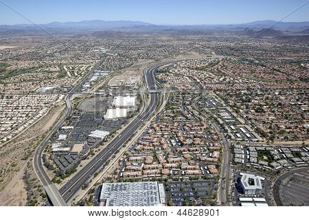 Freeway And Rooftops Of Nw Phoenix