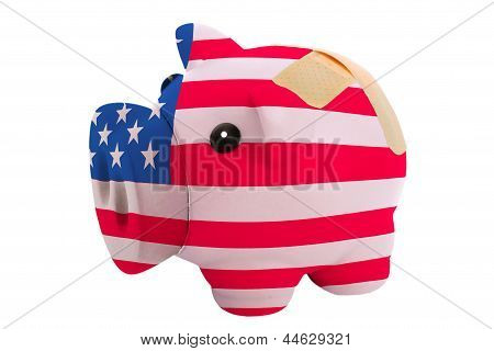 Closed Piggy Rich Bank With Bandage In Colors National Flag Of America