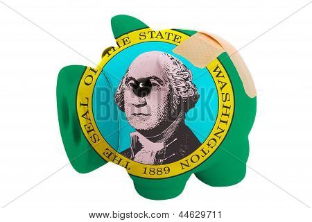 Closed Piggy Rich Bank With Bandage In Colors Flag Of American State Of Washington