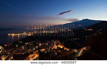 Panorama Of Giardini-naxos And Etna At Twilight