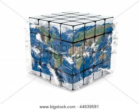 Earth Cube With Atmosphere
