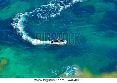 Up View Of Sea Water With Ski Jet Speeding