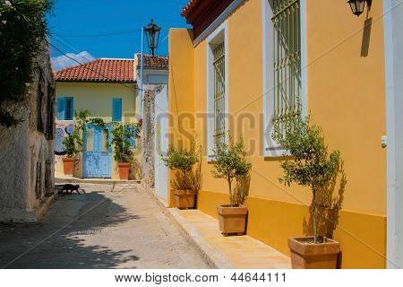 Traditional Colorful Street In Plaka, Athens