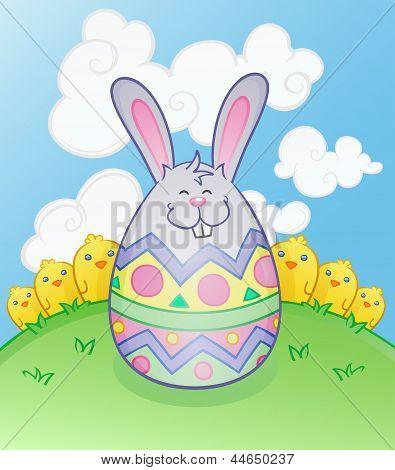 Easter Bunny Egg Cartoon Character