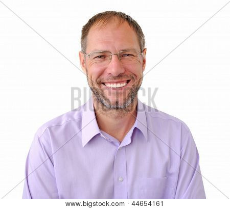 Smiling Men Isolated On The White Background