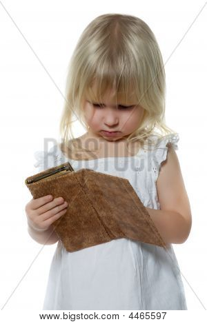 Little Girl Looks In Purse