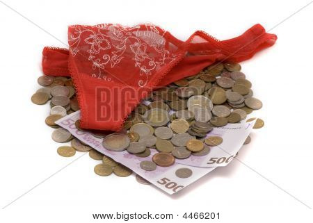 Money And Thongs Isolated