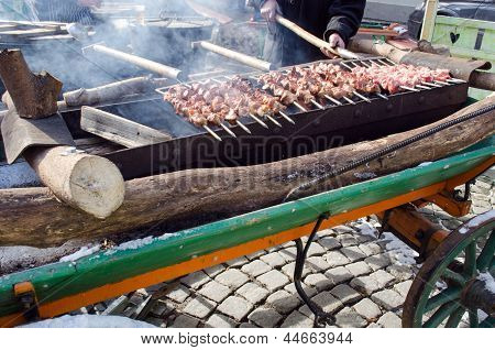 Man Hand Fork Bake Pork Meat Fire Outdoor Food