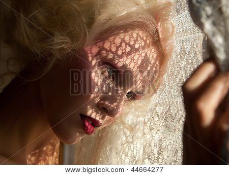 Nostalgia. Fondness.genuine Serene Blond Woman In Reverie. Affection