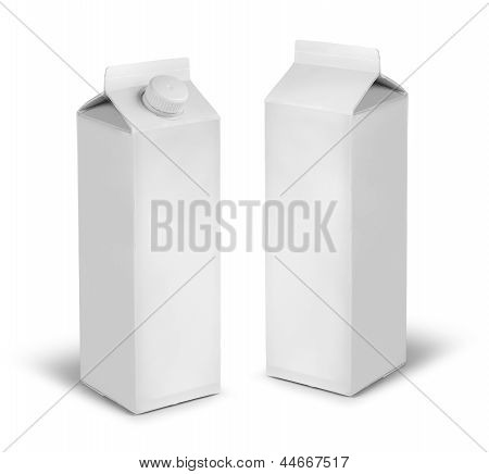 Blank milk or juice carton cans dummy isolated on white poster