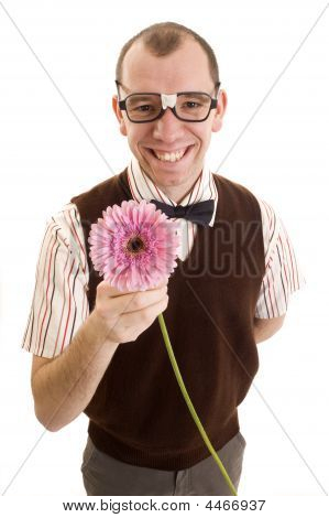 Smiling Geeky Guy With Flower